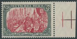 Dt. Reich 97AIb *, 1906, 5 M. Friedensdruck, Karmin Quarzend, Falzrest, Pracht, Mi. 60.- - Unused Stamps