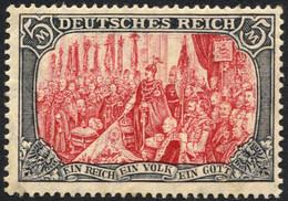 Dt. Reich 97AIM *, 1905, 5 M. Ministerdruck, Rahmen Dunkelgelbocker Quarzend, Feinst (Gummitönung Und Ein Kurzer Zahn),  - Unused Stamps