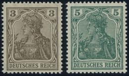 Dt. Reich 84IIb,85IId **, 1918, 3 Pf. Schwärzlichbraun Und 5 Pf. Bläulichgrün Kriegsdruck, Postfrisch, 2 Prachtwerte, Ge - Unused Stamps