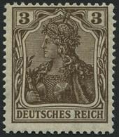 Dt. Reich 84IIb **, 1918, 3 Pf. Schwärzlichbraun Kriegsdruck, Pracht, Gepr. Jäschke, Mi. 70.- - Unused Stamps