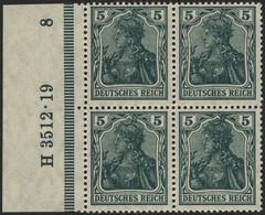 Dt. Reich 85IIe VB **, 1918, 5 Pf. Schwarzopalgrün Kriegsdruck Im Randviererblock Mit HAN H 3512.19, Pracht, Gepr. Jäsch - Unused Stamps