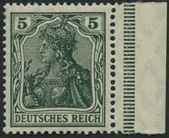 Dt. Reich 85IIe **, 1915, 5 Pf. Schwarzopalgrün Kriegsdruck, Pracht, Gepr. Zenker, Mi. 400.- - Unused Stamps
