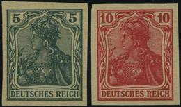 Dt. Reich 85/6IIV (*), 1915, 5 Und 10 Pf. Ungezähnt, Versuchsdrucke Auf Gelblichem Papier, Pracht, Mi. 300.- - Unused Stamps