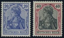 Dt. Reich 97IIa,90IIa **, 1915/6, 5 M. Kriegsdruck, Gezähnt A Und 40 Pf. Dunkelrötlichkarmin/schwarz, Postfrisch, 2 Prac - Unused Stamps