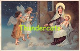 CPA  EN RELIEF GAUFREE JESUS ANGE  NOEL EMBOSSED  ANGEL MARIE  CHRISTMAS - Sonstige