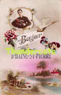 CPA UN BONJOUR D'HAINE ST PIERRE - La Louviere