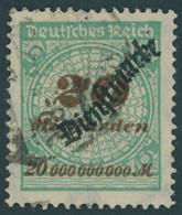 DIENSTMARKEN D 87 O, 1923, 20 Mrd. M. Opalgrün, Pracht, Gepr. Peschl, Mi. 200.- - Officials