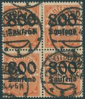 DIENSTMARKEN D 95Y VB O, 1923, 800 Tsd. M. Auf 30 Pf. Dunkelrotorange Auf Mattgelblichorange, Wz. 1, Im Viererblock, Pra - Officials