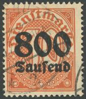 DIENSTMARKEN D 95Y O, 1923, 800 Tsd. M. Auf 30 Pf. Dunkelrotorange, Wz. 1, Pracht, Gepr. Peschl, Mi. 400.- - Officials