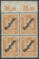 DIENSTMARKEN D 111POR VB **, 1924, 50 Pf. Lebhaftorange, Plattendruck, Im Viererblock Vom Oberrand, Postfrisch, Pracht,  - Officials