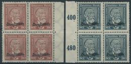 DIENSTMARKEN D 112/3 VB **, 1924, 60 Pf. Lebhaftbraunrot Und 80 Pf. Schwarzgrünblau In Randviererblocks, Postfrisch, Pra - Officials