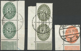 DIENSTMARKEN D 116a,120,129 O, 1927/32, 8, 30 Und 12 Pf. Ziffer, 3 Untere Bogenecken, Feinst - Officials
