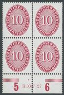 DIENSTMARKEN D 117HAN VB **, 1927, 10 Pf. Karmin Im Unterrandviererblock Mit HAN H 3047.27, Postfrisch, Pracht, Mi. 270. - Officials