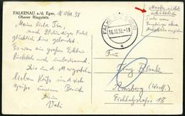 DIENSTMARKEN 1938, Ansichtskarte Aus FALKENAU, Handschriftlicher Postaufgabevermerk: Marke Nicht Erhältlich, Porto Vom E - Officials