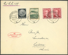 ZEPPELINPOST 1936, 1. Postfahrt Hindenburg, Auflieferung Friedrichshafen, Prachtbrief In Die Schweiz - Airmail