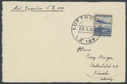 ZEPPELINPOST 401Bb BRIEF, 1936, 1. Postfahrt Hindenburg, Bordpost Mit Zeppelinmarke, Ohne Bestätigungsstempel, Prachtkar - Airmail