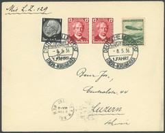 ZEPPELINPOST 407A BRIEF, 1936, 1. Nordamerikafahrt, Schwarzer Bordpoststempel, Prachtbrief In Die Schweiz - Airmail