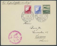 ZEPPELINPOST 427B BRIEF, 1936, Olympiafahrt, Auflieferung Rhein-Main-Flughafen (Buchstabe F), Prachtbrief - Airmail
