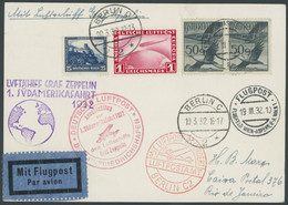 ZULEITUNGSPOST 138 BRIEF, Österreich: 1932, 1. Südamerikafahrt, Anschlussflug Ab Berlin, Prachtkarte, R! - Aéreo
