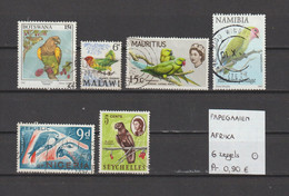 Papegaaien - Perroquets - Parrots - Afrika 6 Zegels Gest./obl./used - Parrots