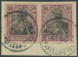 DP CHINA P Vg Paar BrfStk, Petschili: 1900, 50 Pf. Reichspost Im Waagerechten Paar Auf Postabschnitt (rückseitige Telegr - Offices: China