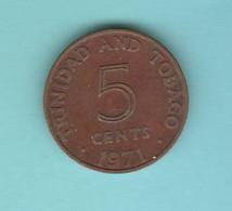 Trinidad & Tobago 5 Centesimi \1971 Cents Copper Coin - Trinidad & Tobago