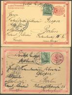 DP CHINA 16 BRIEF, 1902, 5 Pf. Reichspost, 2 Dekorative Gemalte Ansichtskarten Aus TIENTSIN, Pracht - Offices: China