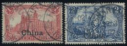 DP CHINA 24,25I O, 1901, 1 Und 2 M. Reichspost, Type I, 2 Prachtwerte, Mi. 78.- - Offices: China
