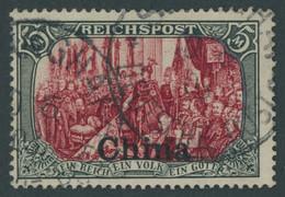 DP CHINA 27III O, 1901, 5 M. Reichspost, Type I, Nachmalung Mit Rot Und Deckweiß, Pracht, Mi. 400.- - Offices: China