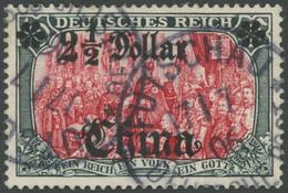 DP CHINA 37 O, 1905, 21/2 D. Auf 5 M., Ohne Wz., Stempel FUTSCHAU, Pracht, Signiert, Mi. (380.-) - Offices: China