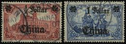 DP CHINA 44IA,45IAII O, 1906/7, 1/2 D. Auf 1 M. Und 1 D. Auf 2 M., Mit Wz., Friedensdruck, 2 Prachtwerte, Mi. 100.- - Offices: China