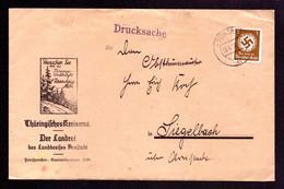 DR Brief Dienst Von ARNSTADT Nach Siegelbach - 20.7.38 Mit Mi. D132 Mit Werbung Thüringer Waldidyll Rennsteig-Mitte - Officials