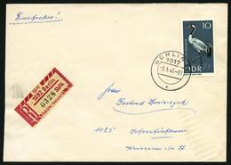 EINSCHREIBEMARKEN 1Cx BRIEF, 1967, 50 Pf. Rosakarmin/schwarz, Gezähnt 121/2, Dickes Papier, PLZ 1092 Auf Eil-Einschreibb - Cartas