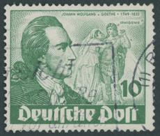 BERLIN 61I O, 1949, 10 Pf. Goethe Mit Abart Farbfleck Neben Rechtem Unterarm Des Darstellers, üblich Gezähnt Pracht, Mi. - Used Stamps