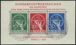 BERLIN Bl. 1II O, 1949, Block Währungsgeschädigte, Beide Abarten, Ersttagssonderstempel, Pracht, Gepr. Schlegel, Mi. (35 - Used Stamps
