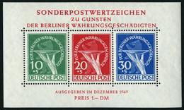 BERLIN Bl. 1 **, 1949, Block Währungsgeschädigte, Pracht, Mi. 950.- - Used Stamps