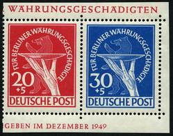 BERLIN 69/70 **, 1949, 20 Und 30 Pf. Währungsgeschädigte Im Paar Aus Block, Pracht - Used Stamps