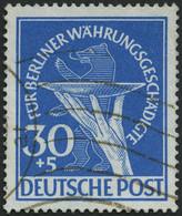 BERLIN 70I O, 1949, 30 Pf. Währungsgeschädigte Mit Abart Senkrechter Schraffierungstrich In Der Opferschale, Teils Welle - Used Stamps