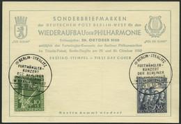 BERLIN 72/3 BRIEF, 1950, Philharmonie Auf Ersttagskarte, Pracht - Used Stamps