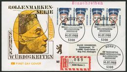 BERLIN 814 Paar BRIEF, 1988, 70 Pf. Nofretete Im Waagerechten Viererstreifen Als Portogerechte Mehrfachfrankatur Auf Ers - Used Stamps