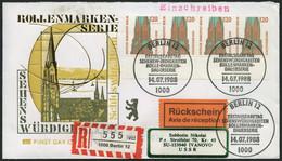 BERLIN 815 BRIEF, 1988, 120 Pf. St. Petri-Dom Im Waagerechten Viererstreifen Als Mehrfachfrankatur Auf Einschreiben/Rück - Used Stamps