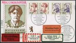 BERLIN 824 Ñ,828 Ñ BRIEF, 1988, 60 Pf. Erxleben Und 350 Pf. Dransfeld In Waagerechten Paaren Auf FDC Mit Rückschein Nach - Used Stamps