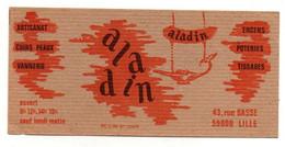 Carte De Visite Aladin Artisanat Cuirs Peaux Vannerie Encens Poteries Tissages à Lille - Cartes De Visite