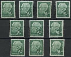 ENGROS 265xv **, 1957, 90 Pf. Heuss II, Geriffelter Gummi, 10x, Fast Nur Pracht, Mi. 380.- - Variedades