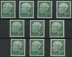 ENGROS 265xv **, 1957, 90 Pf. Heuss II, Geriffelter Gummi, 10x, Fast Nur Pracht, Mi. 380.- - Variétés
