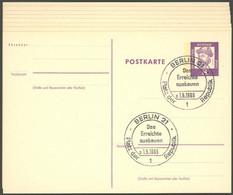 GANZSACHEN P 73 BRIEF, 1962, 8 Pf. Gutenberg, In Grotesk-Schrift, 8 Postkarten Leer Gestempelt Mit Verschiedenen Berline - Sin Clasificación