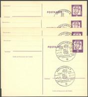 GANZSACHEN P 73 BRIEF, 1962, 8 Pf. Gutenberg, In Grotesk-Schrift, 4 Postkarten Leer Gestempelt Mit Verschiedenen Sonders - Sin Clasificación