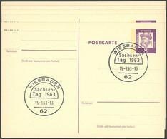 GANZSACHEN P 73 BRIEF, 1962, 8 Pf. Gutenberg, In Grotesk-Schrift, 5 Postkarten Leer Gestempelt Mit Verschiedenen Sonders - Sin Clasificación