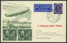 GANZSACHEN PP 4/2 BRIEF, 1952, Privatpostkarte 15 Pf. Posthorn, 40 Jahre Deutsche Luftpost, Mit 20 Pf. Zusatzfrankatur N - Sin Clasificación