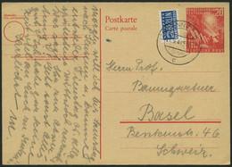 GANZSACHEN PSo 2 BRIEF, 1949, 20 Pf. Bundestag, Bedarfskarte In Die Schweiz, Pracht, Mi. 150.- - Sin Clasificación